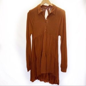 Free People Flowy Camel Colored Dress